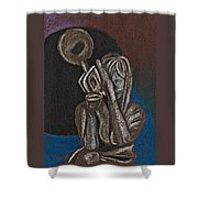 Woman With Trumpet Shower Curtain