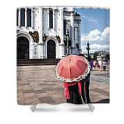 Woman With Umbrella - Moscow - Russia Shower Curtain