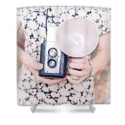 Woman With Vintage Camera Shower Curtain