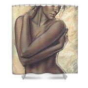 Woman With White Drape Crop Shower Curtain by Zorina Baldescu