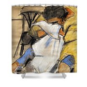 Woman With White Towel - Helene #9 - Figure Series Shower Curtain