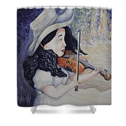 Woman's Autumnal Twilight Serenade Shower Curtain