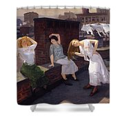 Women Drying Their Hair 1912 Shower Curtain