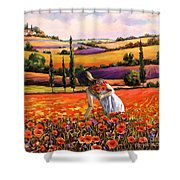 Women Gathering Poppies In Tuscan Shower Curtain