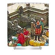 Women Get Bagmati River Holy Water From Ornate Fountains In Patan Durbar Square In Lalitpur-nepal  Shower Curtain
