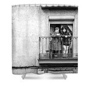 Women In Balcony Shower Curtain