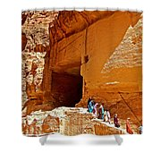 Women Leaving A Storage Place Near The Treasury In Petra-jordan Shower Curtain