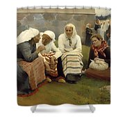 Women Outside The Church - Finland Shower Curtain