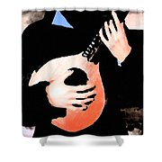 Women With Her Guitar Shower Curtain