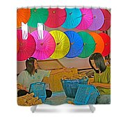 Women Working Together At Borsang Umbrella And Paper Factory In Chiang Mai-thailand Shower Curtain