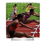 Womens Hurdles 3 Shower Curtain