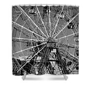 Wonder Wheel Of Coney Island In Black And White Shower Curtain