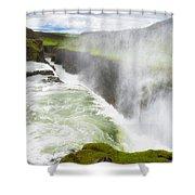 Wonderful Waterfall Gullfoss In South Iceland Shower Curtain