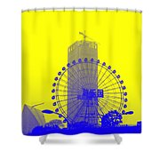 Wonderwheel In Blue And Yellow Shower Curtain