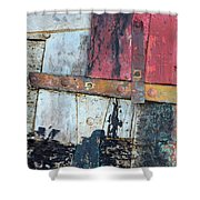 Wood And Metal Abstract Shower Curtain by Jill Battaglia