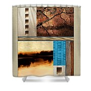 Wood And Stone Rectangular Textures Shower Curtain