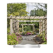 Wood Arbor Over Garden Path Shower Curtain