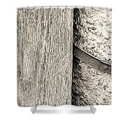 Wood Concrete And Steel Shower Curtain