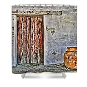 Wood Door And Clay Pot By Diana Sainz Shower Curtain