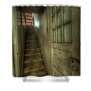 Wood Door And Stairs Shower Curtain