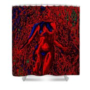 Wood Nymph In Red Power Shower Curtain