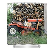 Wood Pile And Lawn Tractor Shower Curtain