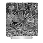 Wood Spoke Wheel Shower Curtain