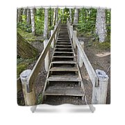 Wood Staircase In Hiking Trail Shower Curtain