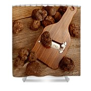 Wood Truffle Slicer Shower Curtain