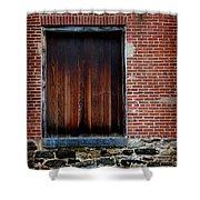Wood Window Brick Wall Shower Curtain