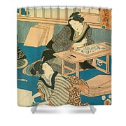 Woodblock Production Shower Curtain