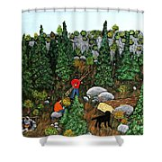Woodcutters And Black Lab Shower Curtain