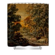 Wooded Landscape With Herdsman And Cattle Shower Curtain
