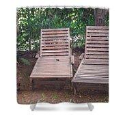 Wooden Beach Chairs Shower Curtain