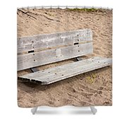 Wooden Bench Burried In The Sand Shower Curtain