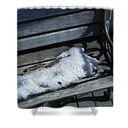 Wooden Bench With Snow 1 Shower Curtain