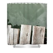 Wooden Board Against Sea Surface Shower Curtain