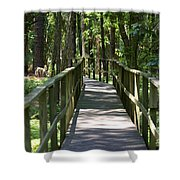 Wooden Boardwalk Through The Forest Shower Curtain