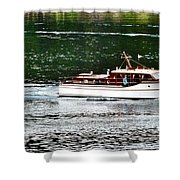 Wooden Boat With Skiff Shower Curtain