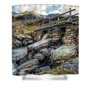 Wooden Bridge Shower Curtain by Adrian Evans