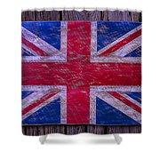 Wooden British Flag Shower Curtain