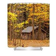 Wooden Cabin In Autumn Shower Curtain