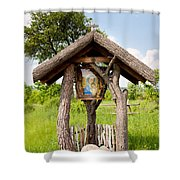 wooden shrine of holy Mother in Poland  Shower Curtain