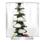 Wooden Christmas Tree With Gifts Shower Curtain