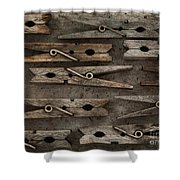 Wooden Clothespins Shower Curtain