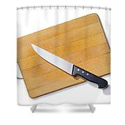 Wooden Cutting Board With Kitchen Knife Shower Curtain