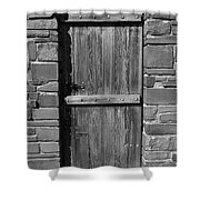 Wooden Door And Stone Wall 1 Shower Curtain