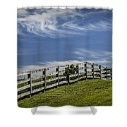 Wooden Farm Fence On Crest Of A Hill Shower Curtain
