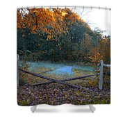 Wooden Fence In Autumn Shower Curtain