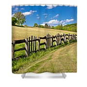 Wooden Fence In Green Landscape Shower Curtain